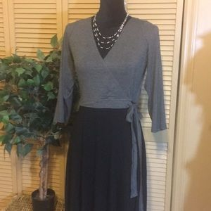 Anthropologie Dresses - 💋Anthropologie Grey and Black Faux Wrap Dress